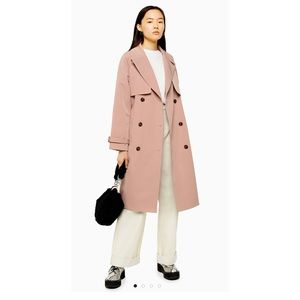NWOT Topshop pink stitch trench coat
